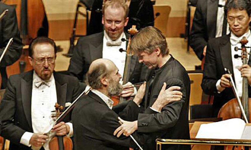 """Arvo Pärt and Esa-Pekka Salonen at the 2009 world premiere of Pärt's Symphony No. 4, """"Los Angeles,"""" commissioned by the L.A. Phil."""