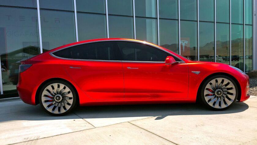 SPARKS, NEV. - TUES. JULY 26, 2016 - Tesla Model 3 mockup at the Tesla Gigafactory under constructio