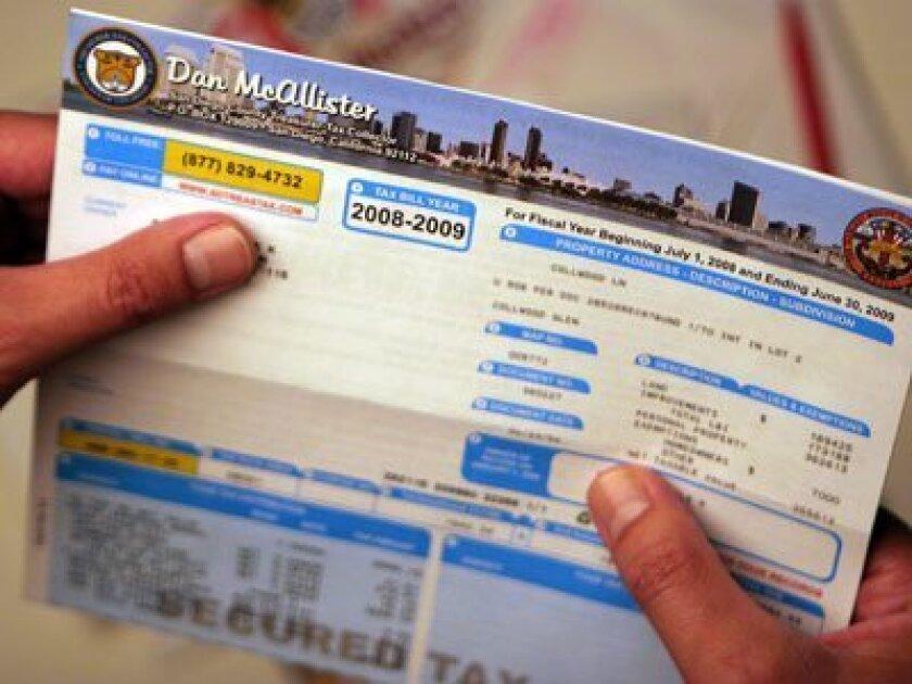 A San Diego County property tax bill.