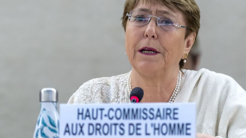 U.N. High Commissioner for Human Rights Chilean Michelle Bachelet, talk about the situation of human