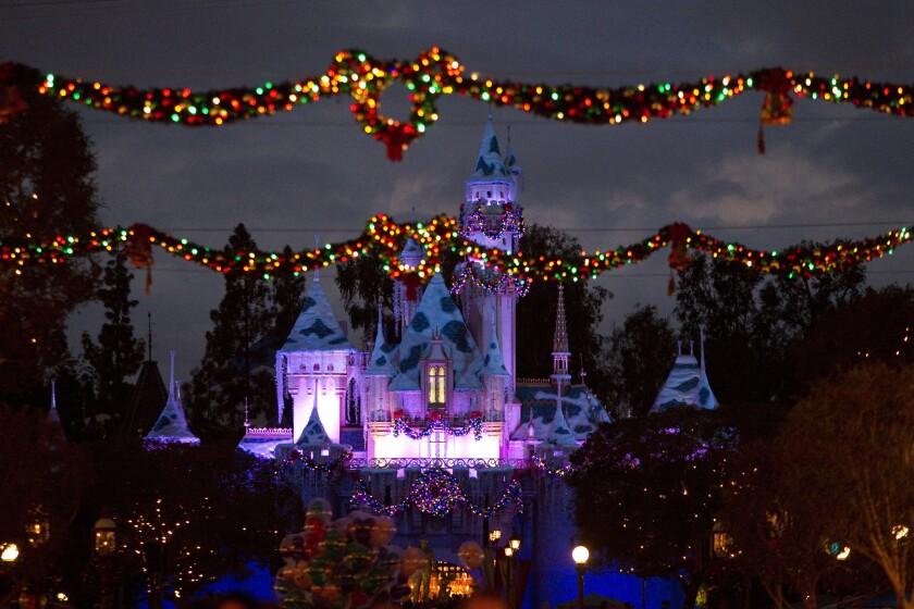 Holiday decorations at Disneyland