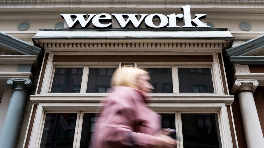 A view of a WeWork office space in New York.