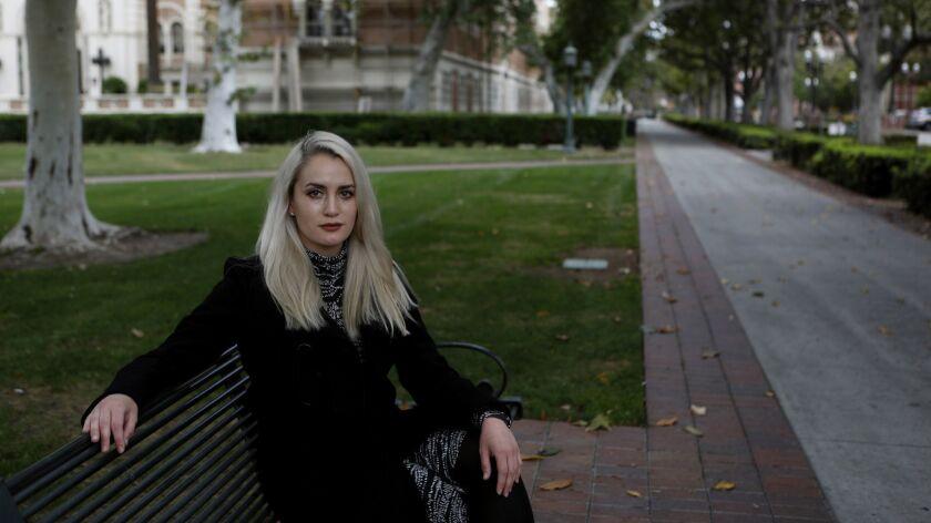 LOS ANGELES, CA MAY 20, 2018: Portrait of Viva Symanski, 30, on USC campus in Los Angeles, CA May