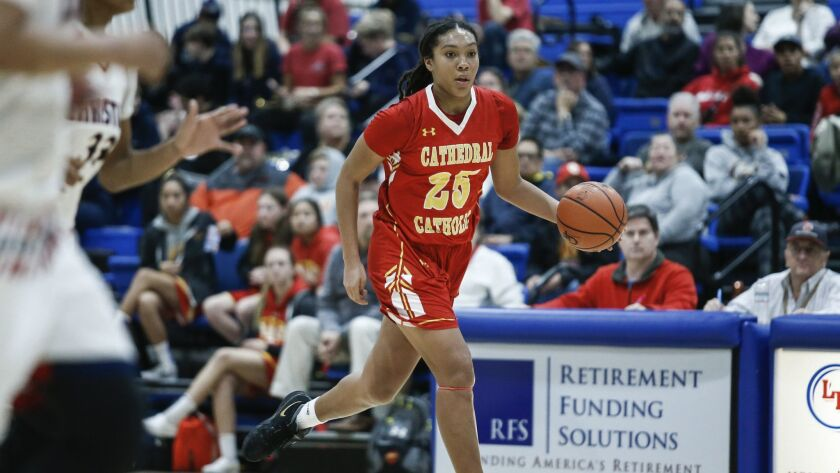 Cathedral Catholic's Isuneh Brady (25) moves down the court during the first half against Christian.