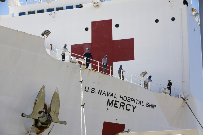 The hospital ship Mercy arrived in Los Angeles in March with a mission of treating patients who do not have COVID-19.