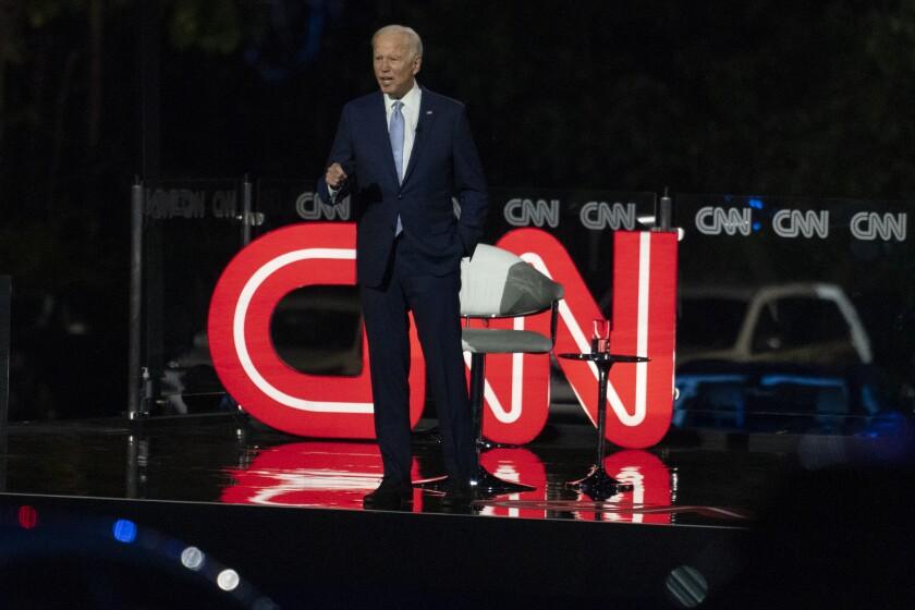 Joe Biden at a town hall in Moosic, Pa.