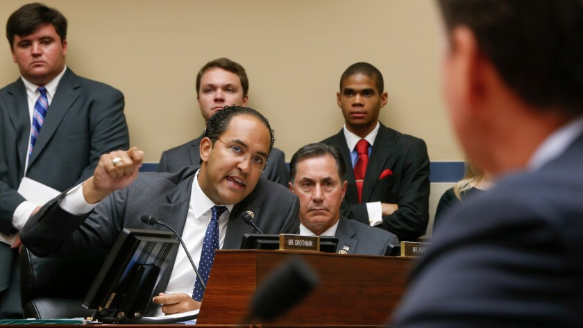 Republican Rep. Will Hurd of Texas questions FBI Director James Comey at a House Oversight and Government Reform Committee hearing in July.