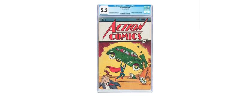 Esta imagen cortesía de Heritage Auctions muestra una copia difícil de conseguir del comic Superman de 1938. En un comunicado, Heritage Auctions, con sede en Dallas, dijo que la copia de Action Comics No 1, con un precio en portada de 10 centavos, se vendió el jueves 4 de agosto de 2016 por 956.000 dólares. Se sabe que existen alrededor de 100 copias de la edición. (José Hernández/Heritage Auctions vía AP)