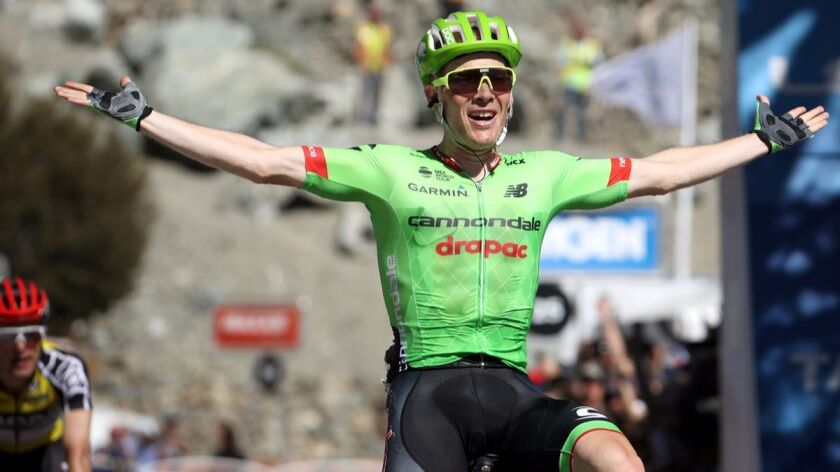 Andrew Talansky celebrates after winning Stage 5 of the Amgen Tour of California from Ontario to Mt. Baldy on Thursday.