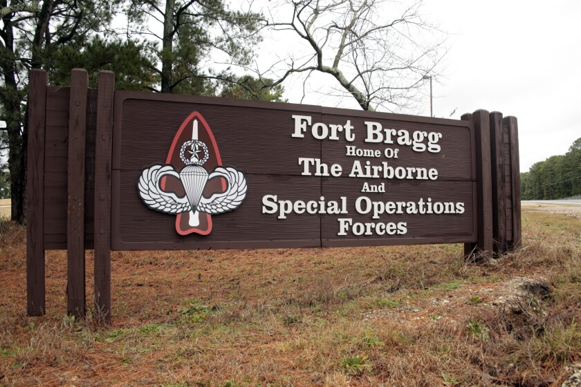 A sign at Fort Bragg, N.C., whose name honors Confederate Army Gen. Braxton Bragg.
