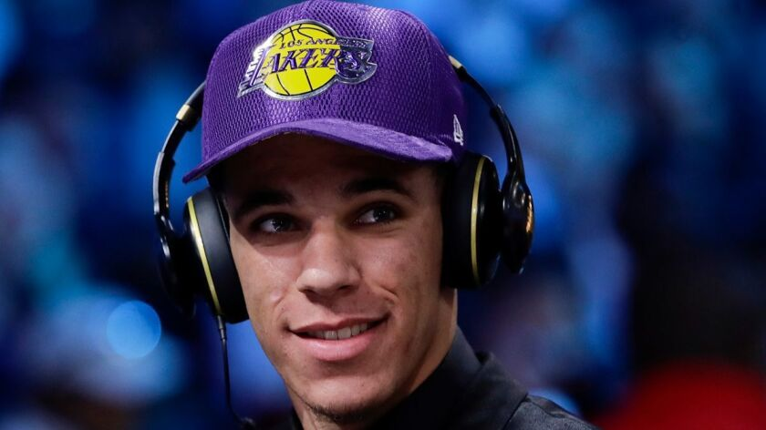 Lonzo Ball is interviewed after being selected by the Lakers at the NBA draft Thursday.
