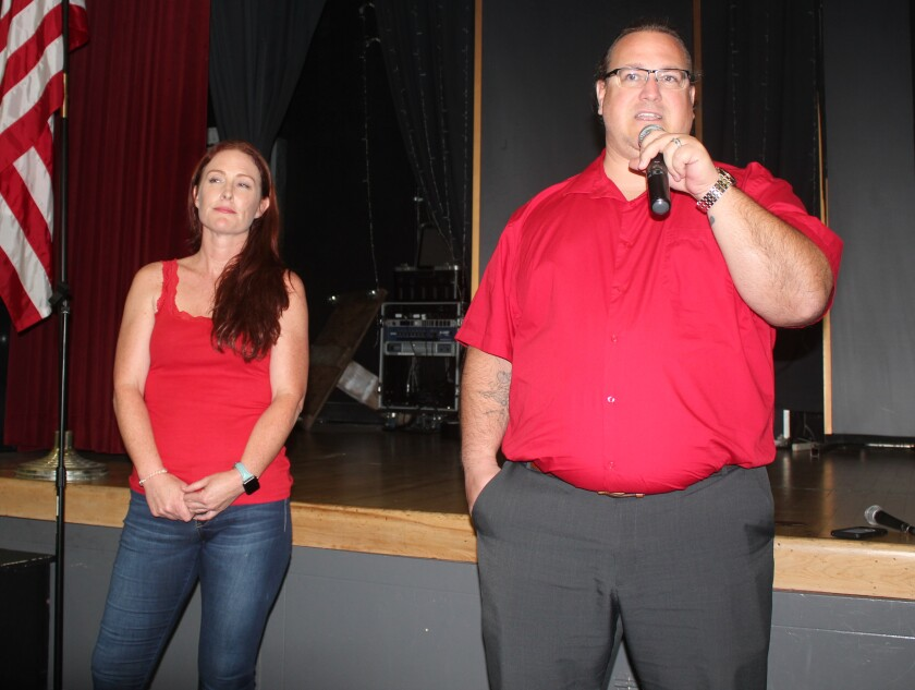 Sarah Bonesteel and Paul McBride announce the return of the Guardian Angels to PB to help reduce unruly and criminal behavior.