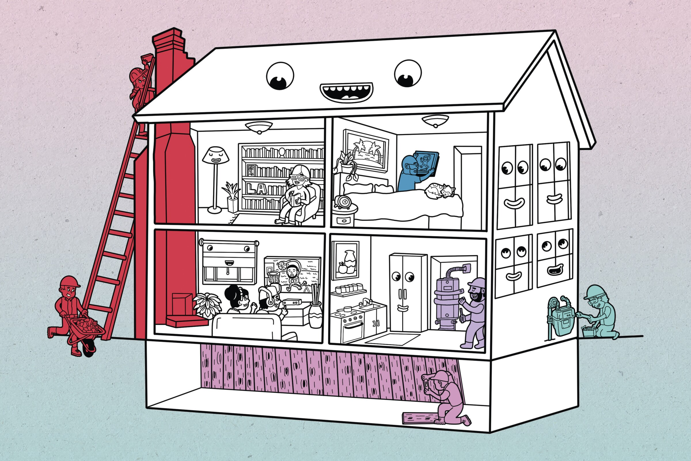 Illustration of a home with retrofitting work being performed