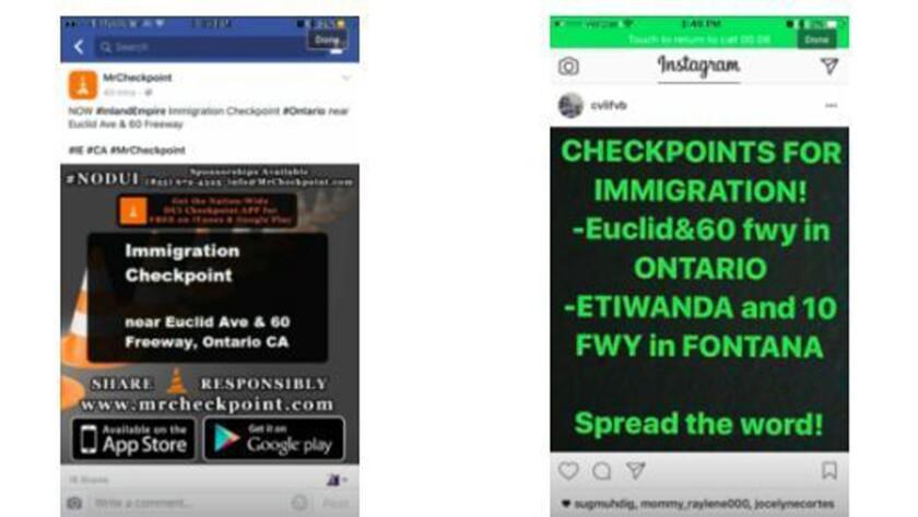 Hoax social media warning warning of deportation checkpoints.