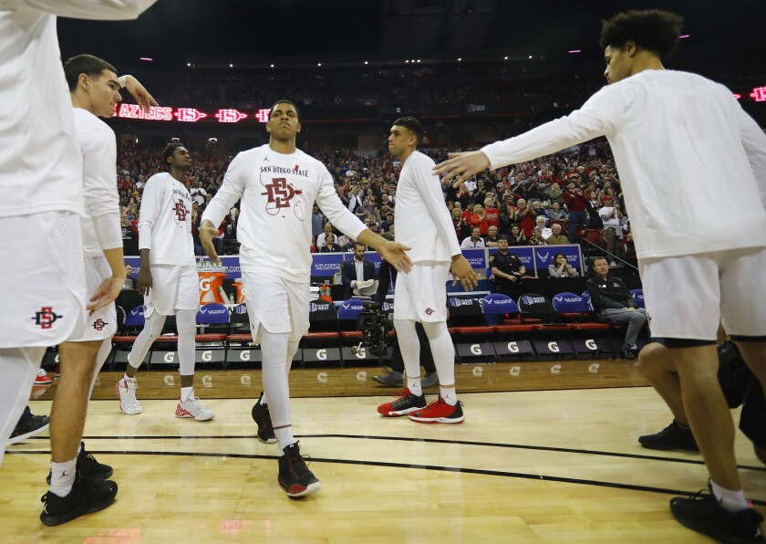 SDSU's Matt Mitchell is introduced against Utah State in the Mountain West tournament final.