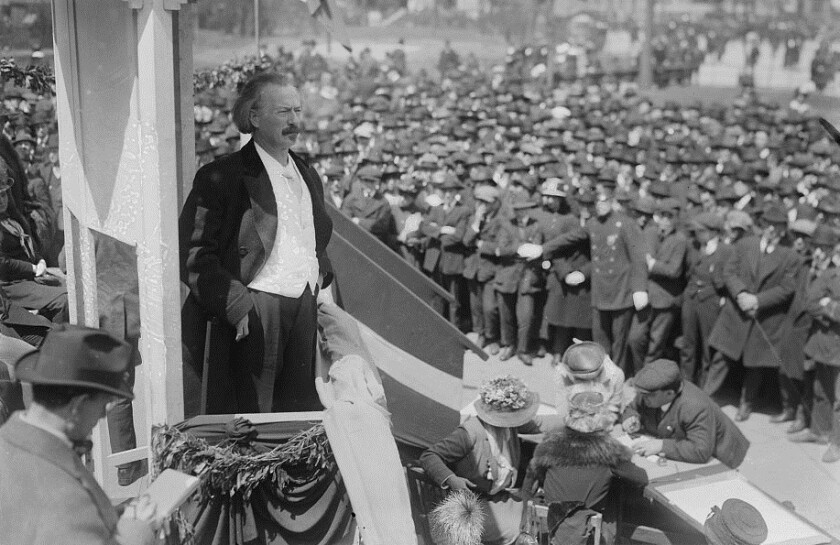 Polish musician and statesman Ignacy Jan Paderewski surveys one of his audiences sometime between 1915 and 1920.