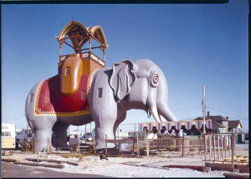 An image of Lucy the Elephant, in Margate, N.J., is part of the folly exhibit at MOCA Pacific Design Center.