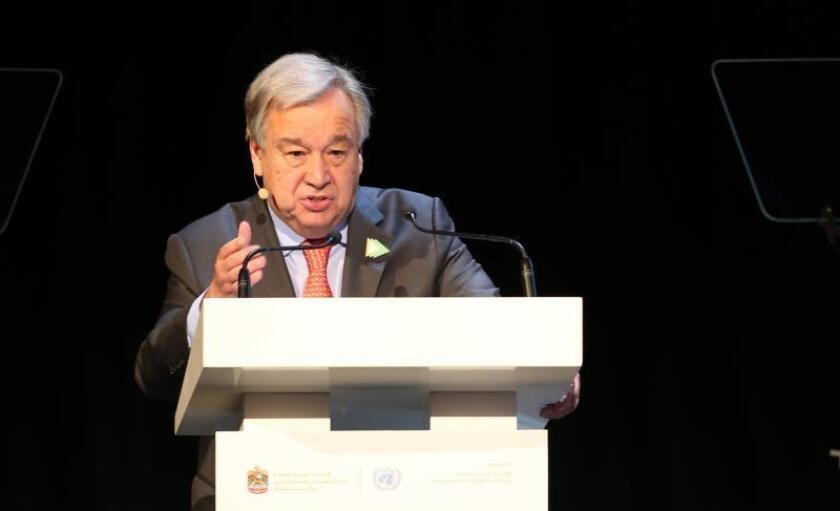 El Secretario General de las Naciones Unidas (ONU), Antonio Guterres, pronuncia su discurso durante la Reunión Climática de Abu Dhabi, Emiratos Árabes Unidos, el 30 de junio de 2019. EFE/EPA/ALI HAIDER/Archivo