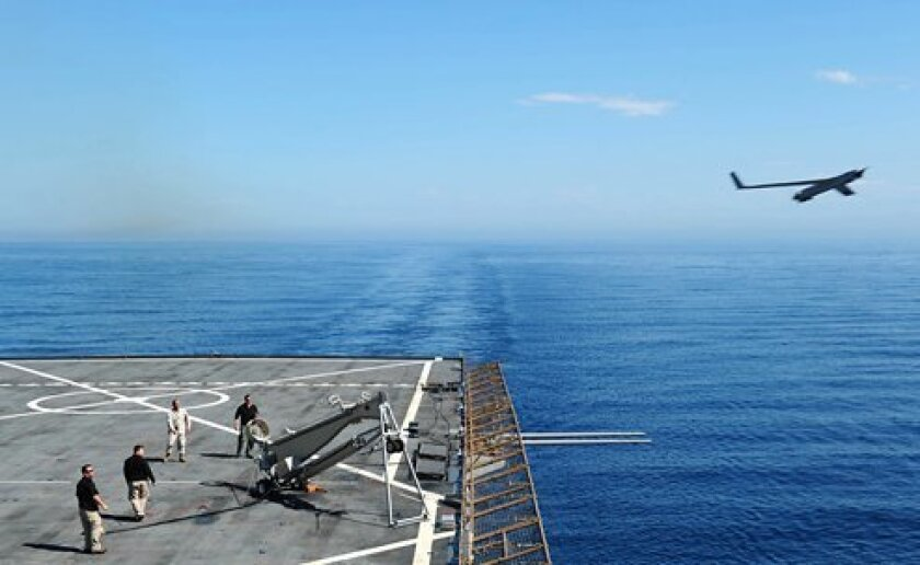 In April 2012, civilian contracts launched a Scan Eagle drone from the amphibious dock-landing ship Gunston Hall.