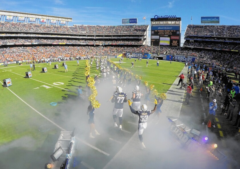 The San Diego Chargers have played at Qualcomm Stadium since 1967.