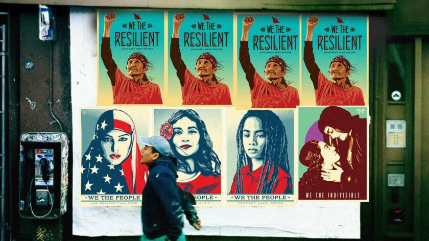 "The five images in the ""We the People"" protest art campaign will be printed in three major American newspapers on Inauguration Day."