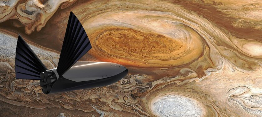 A rendering of a SpaceX interplanetary spacecraft flying past Jupiter.