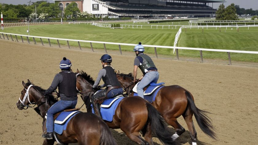Riders workout with horses at Belmont Park in Elmont, N.Y., Thursday, June 6, 2019. The 151st Belmon