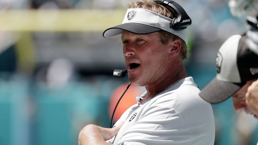 Oakland Raiders head coach Jon Gruden during a game last year against the Miami Dolphins.