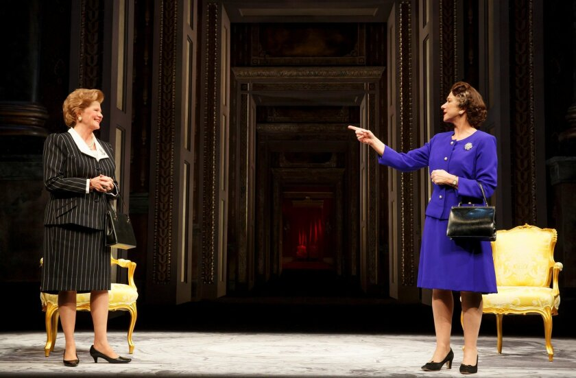 """Judith Ivey (left) with Helen Mirren in the Broadway production of """"The Audience."""""""