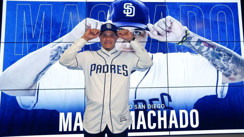 San Diego Padres introduce Manny Machado at a news conference in Peoria on Feb. 22, 2019. (Photo by K.C. Alfred/San Diego Union-Tribune)