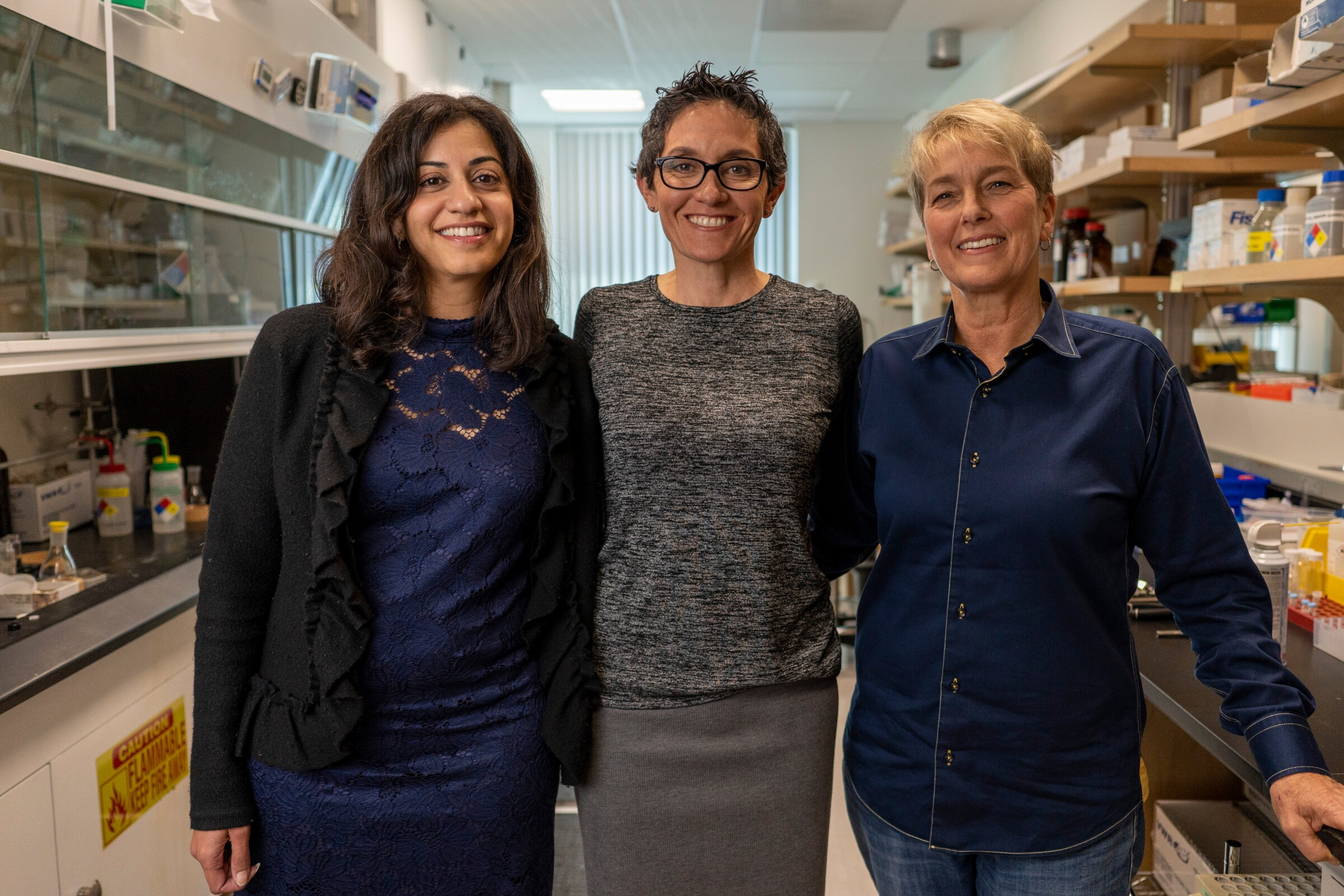 Left, Dr. Sheila Gujrathi, CEO of Gossamer Bio; center, Athena Countouriotis, CEO of Turning Point Therapeutics; right, Laura Shawver, CEO of Synthorx.