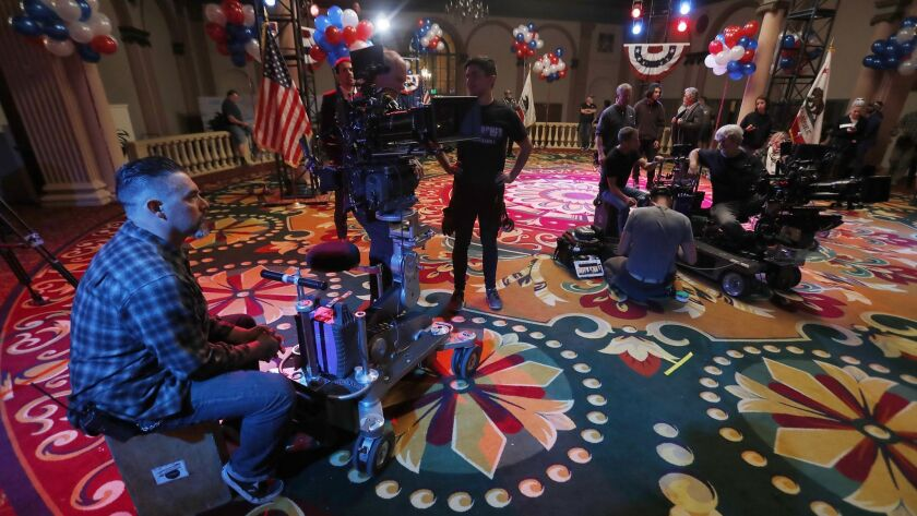 LOS ANGELES, CALIF. - DEC. 21, 2017. A production crew prepares a set for the season finale of the