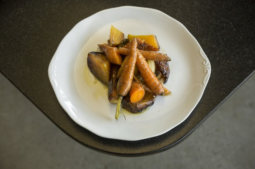 Coal-roasted vegetables with sea salt and olive oil.