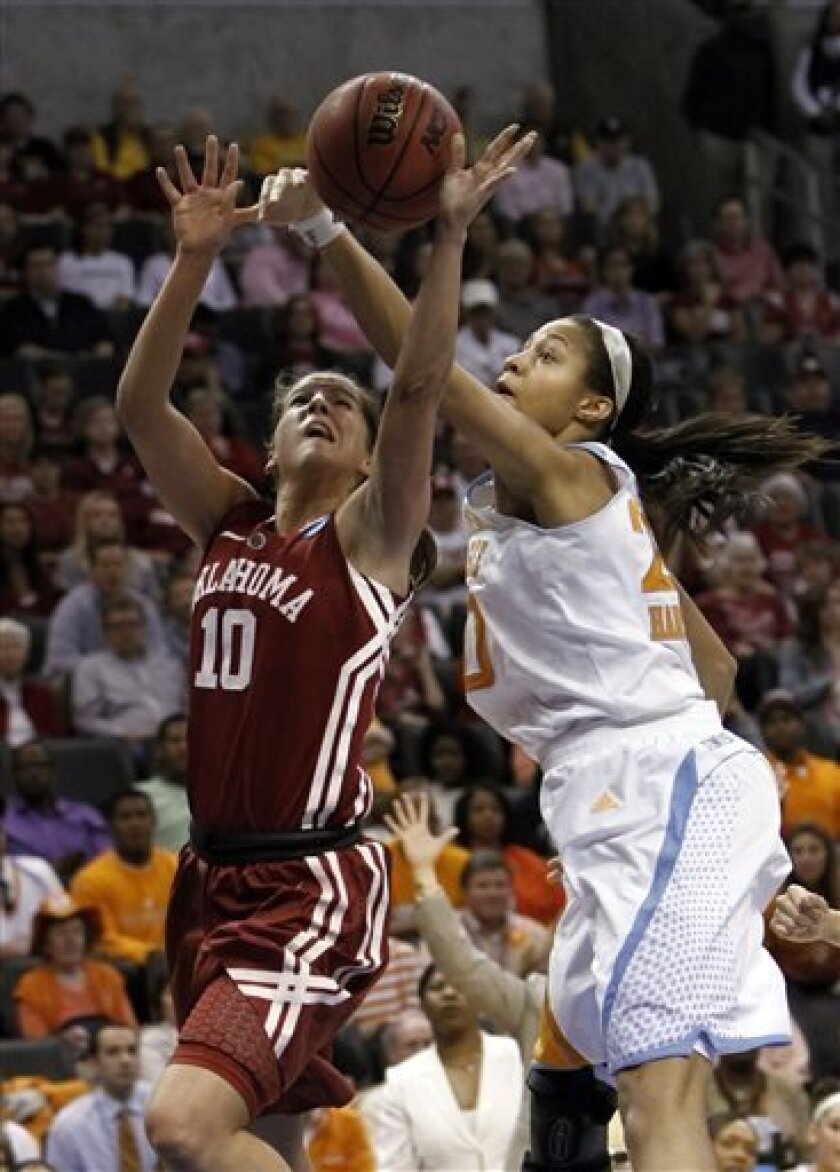 Oklahoma's Morgan Hook (10) drives to the basket as Tennessee's Isabelle Harrison (20) defends during a regional semifinal game in the women's NCAA college basketball tournament in Oklahoma City, Sunday, March 31, 2013.  (AP Photo/Alonzo Adams)
