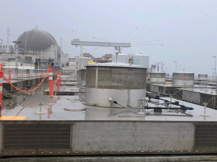 One of the dry storage enclosures that houses a canister filled with spent nuclear fuel at San Onofre.