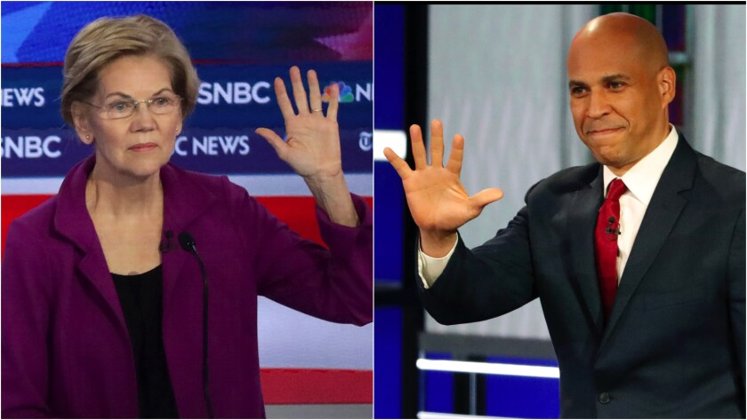 Sens. Elizabeth Warren and Cory Booker at Democratic debate