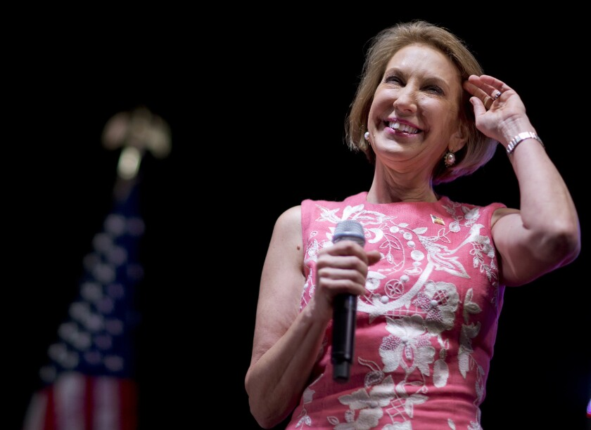 Republican presidential candidate Carly Fiorina speaks at the RedState Gathering on Friday in Atlanta.
