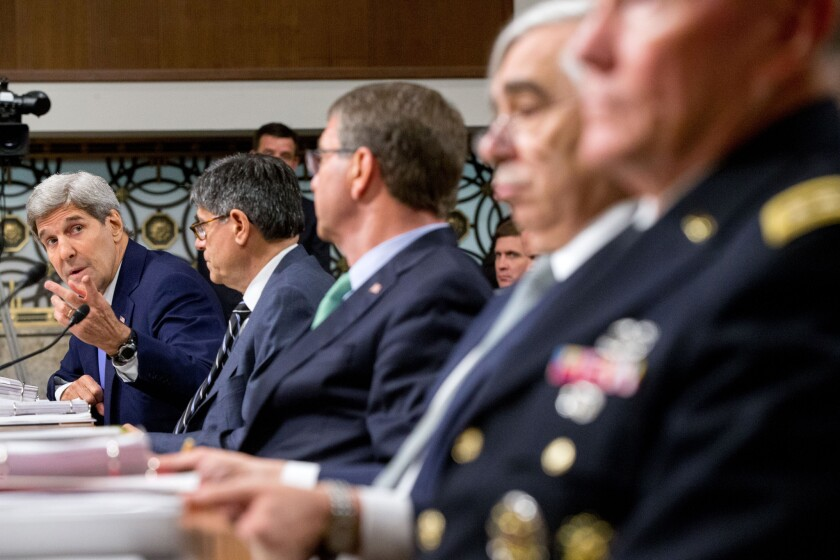 Secretary of State John Kerry, left, testifies on Capitol Hill in Washington, Wednesday, July 29, before the Senate Armed Services Committee hearing, on the impacts of the Joint Comprehensive Plan of Action (JCPOA). From left are, Kerry, Treasury Secretary Jacob Lew, Defense Secretary Ash Carter, Energy Secretary Ernest Moniz, and Joint Chiefs Chairman Gen. Martin Dempsey.