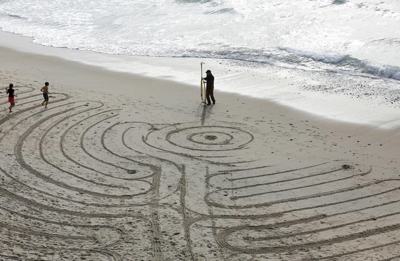 New Year's Labyrinth on Encinitas Beach