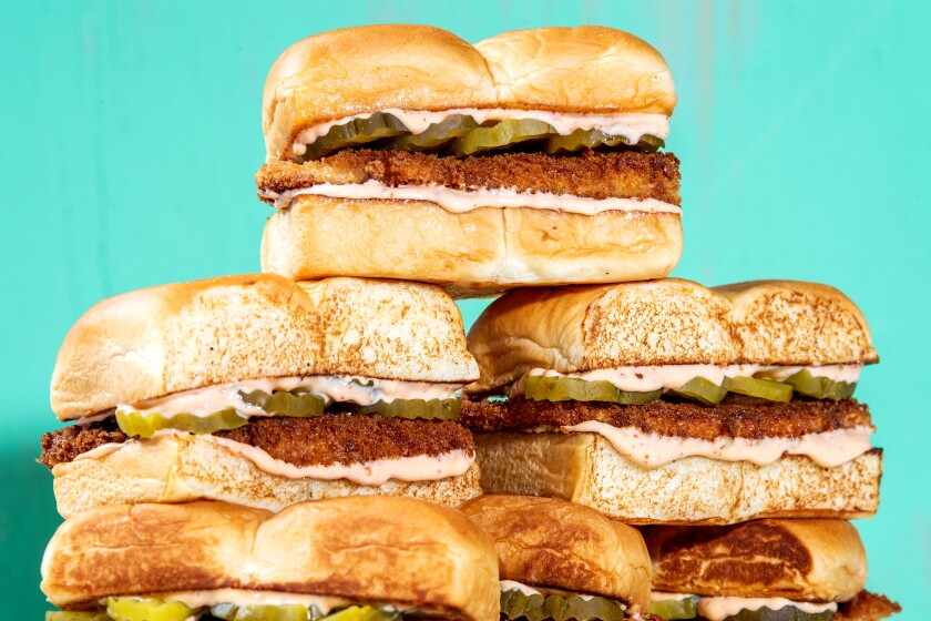 A crunchy, spicy, pickle-y fried chicken sandwich. Prop styling by Rebecca Buenik.