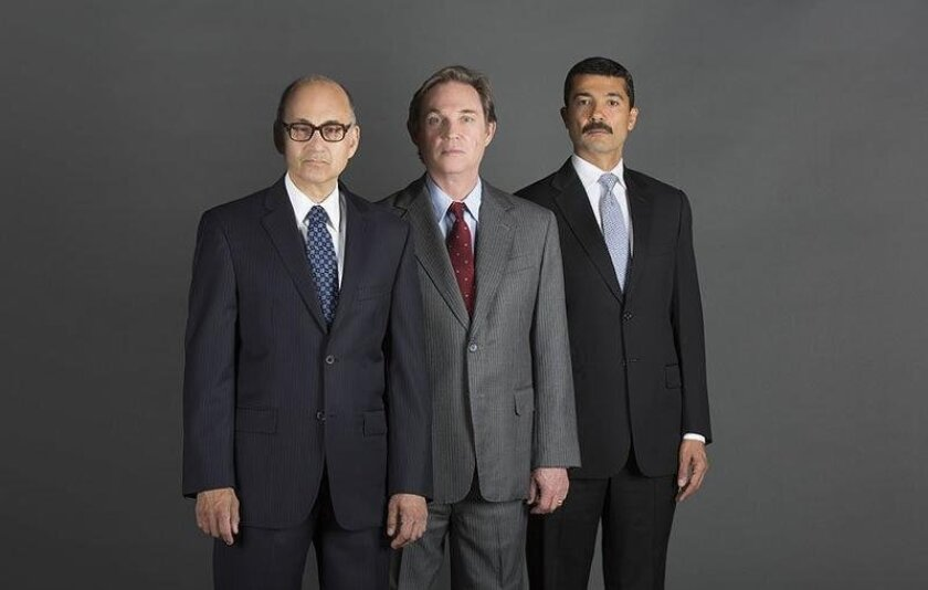 "Ned Eisenberg as Menachem Begin, Richard Thomas as Jimmy Carter and Khaled Nabawy as Anwar Sadat (left to right) in the West Coast premiere of Lawrence Wright's ""Camp David."""