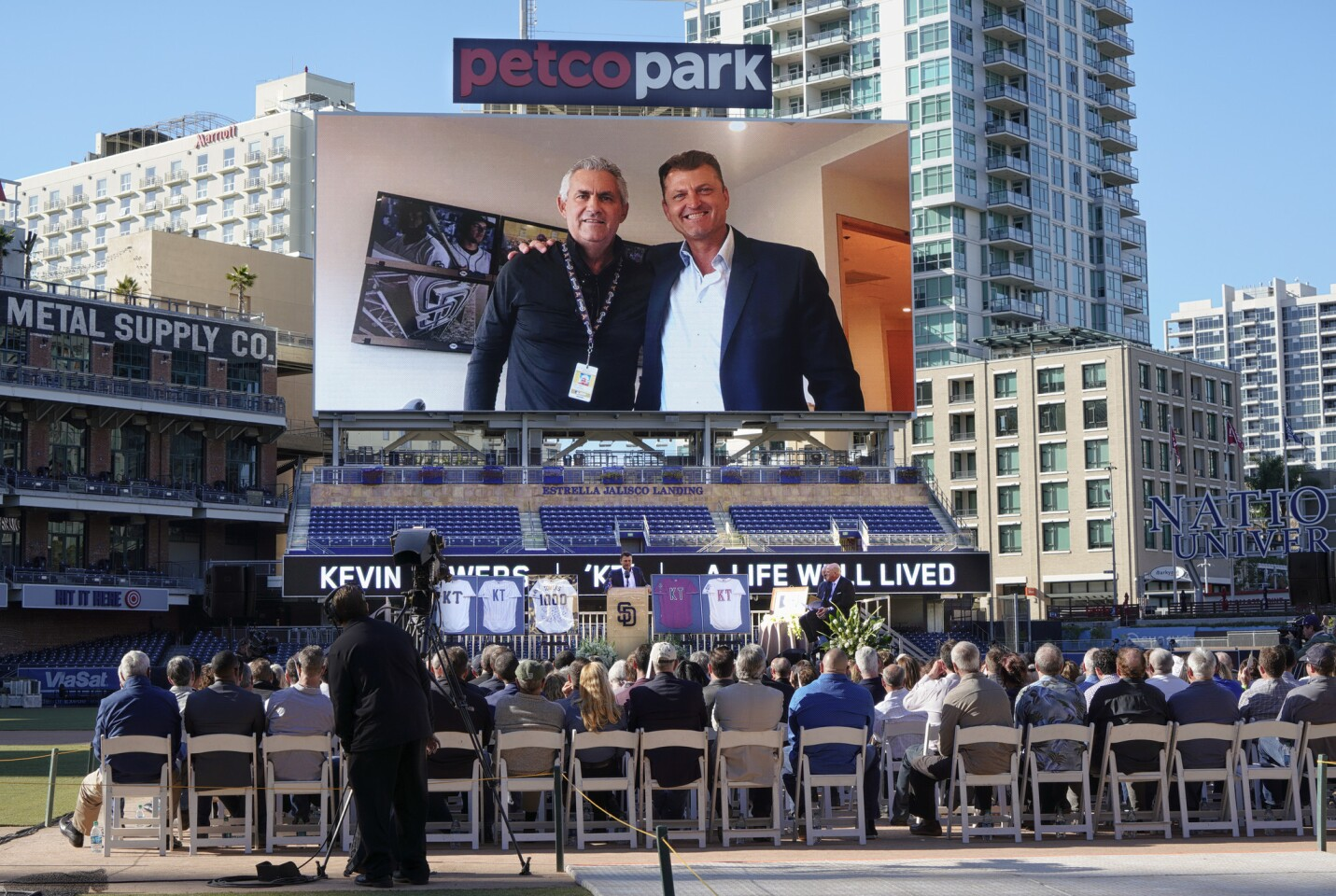 Former Padres and Hall of Famer Trevor Hoffman spoke to the crowd and shared a few memories of Kevin Towers at Petco Park during the celebration of Kevin Tower's life.