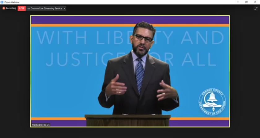 """Orange County Department of Education Supt. Al Mijares moderates a virtual forum """"With Liberty and Justice for All."""""""