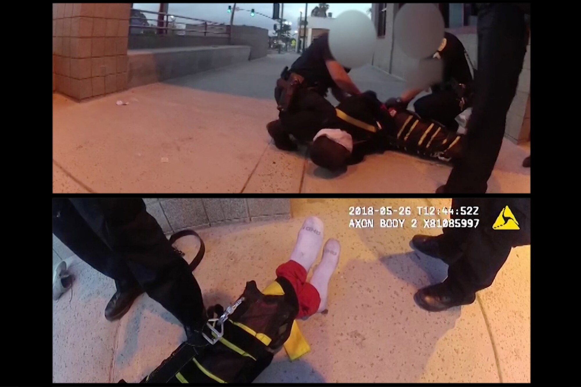 Screen shot from video released by the District Attorney's Office shows Earl McNeil handcuffed and restrained by The Wrap, a device police departments across the country are using to restrain subjects.