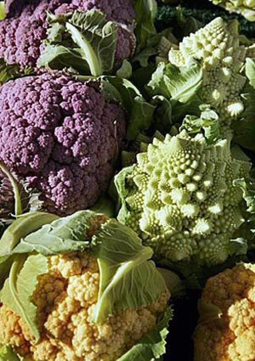 Not so long ago, cauliflower was about the most boring looking vegetable on the planet, coming in beige and only in beige. Today, cauliflower is a riot of color.