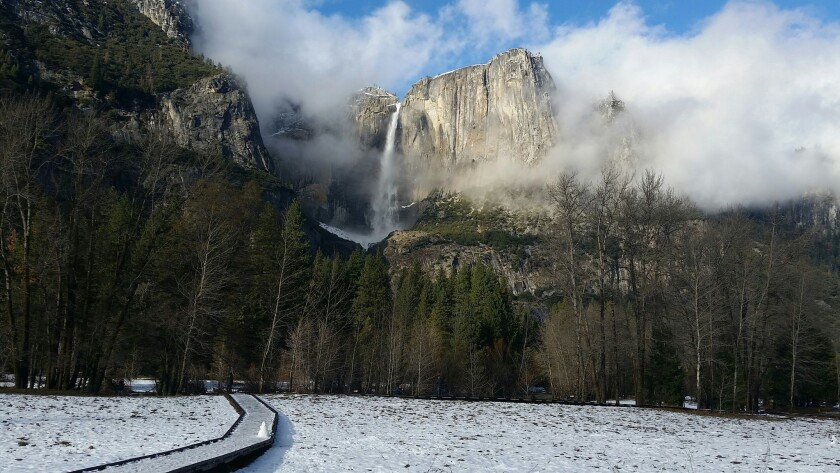 This undated image provided by the National Park Service shows Yosemite Falls in Yosemite National Park in California in winter.