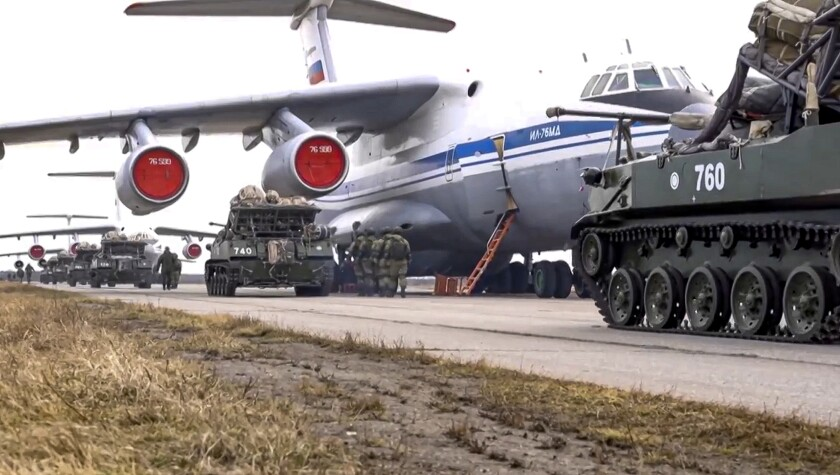 Russian military vehicles ready for loading onto plane
