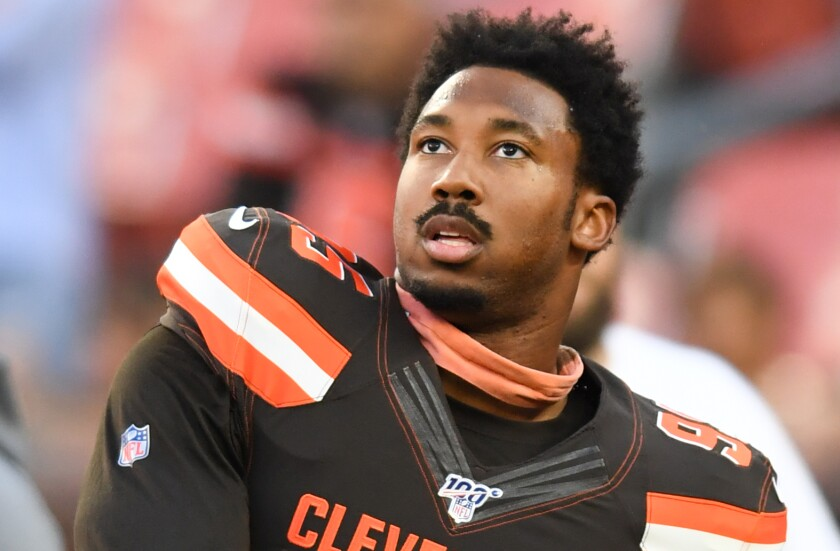 Cleveland Browns defensive end Myles Garrett before a preseason game against the Detroit Lions on Aug. 29, 2019, at FirstEnergy Stadium in Cleveland.