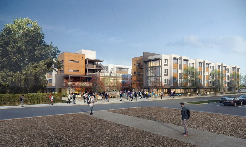 A rendering depicts Orange Coast College's new 323-unit, 814-bed student housing development that is planned to be completed in fall 2020.