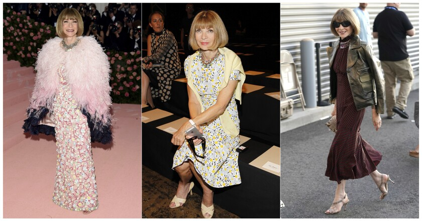 "CORRECTS SPELLING OF KARAN - This combination photo shows, from left, Anna Wintour at The Metropolitan Museum of Art's Costume Institute benefit gala celebrating the opening of the ""Camp: Notes on Fashion"" exhibition in New York on May 6, 2019, at Donna Karan's Spring/Summer 2015 show during Fashion Week in New York on Sept, 8 2014 and at the quarterfinals of the U.S. Open tennis championships in New York on Sept. 3, 2019. Wintour offers and online MasterClass on creativity and leadership. (AP Photo)"